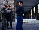 A Palestinian man is questioned in Hebron by Israeli military.